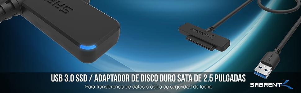 Sabrent Adaptador de disco duro USB 3.0 a SSD / 2,5 pulgadas SATA ...