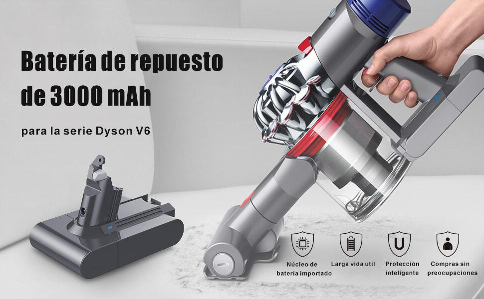 YABER DC62 Dyson V6 21.6V 3000mAh Batería de Repuesto para Dyson DC58 DC59 DC61 DC62 DC72 DC74 595 650 770 880 Aspirador de Mano con 2 Pre Hepa Filtro: Amazon.es: Hogar