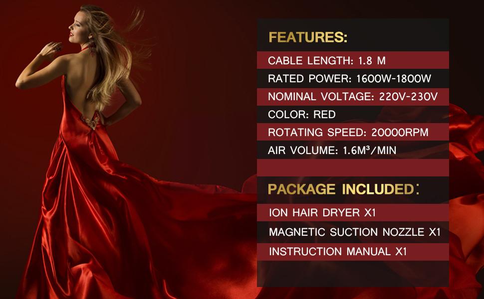 Professional Hair Dryer 1800W Powerful Inoic Dryer Lightweight Adjustable Wind Speed Travel Salon