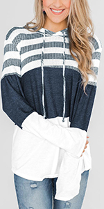 KINGFEN Oversized Sweatshirts for Women Striped Color Block Hoodies Pullover