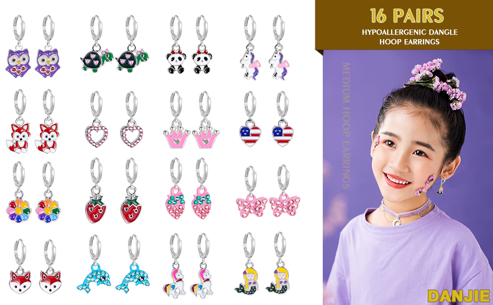16 Pairs Hypoallergenic Silver Mini Cute Dangle Hoop Earrings for Teen Girls-Pink Animal Earrings for Girls And Women-Colorful Fox Flower Flag Dangle Hoop Earrings