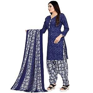 Rajnandini Women's Blue Cotton Printed Salwar Suit