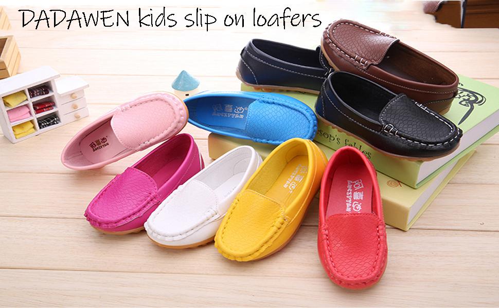 DADAWEN Childrens Girls Boys Slip-on Soft Loafers Oxford Shoes