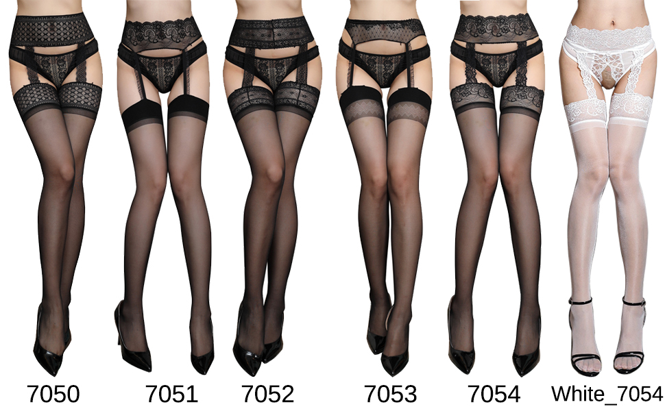 Confonze Womens Thigh High Stockings Sexy Lace Suspender Pantyhose Garter Belt Mock Stockings