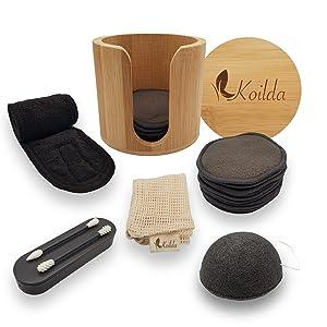 KOILDA set de d/émaquillage,16 cotons d/émaquillant reutilisables au charbon de bambou,1 pot bambou,1 filet de lavage,1 /éponge konjac,1 bandeau cheveux,2 coton tiges r/éutilisable et lavable.