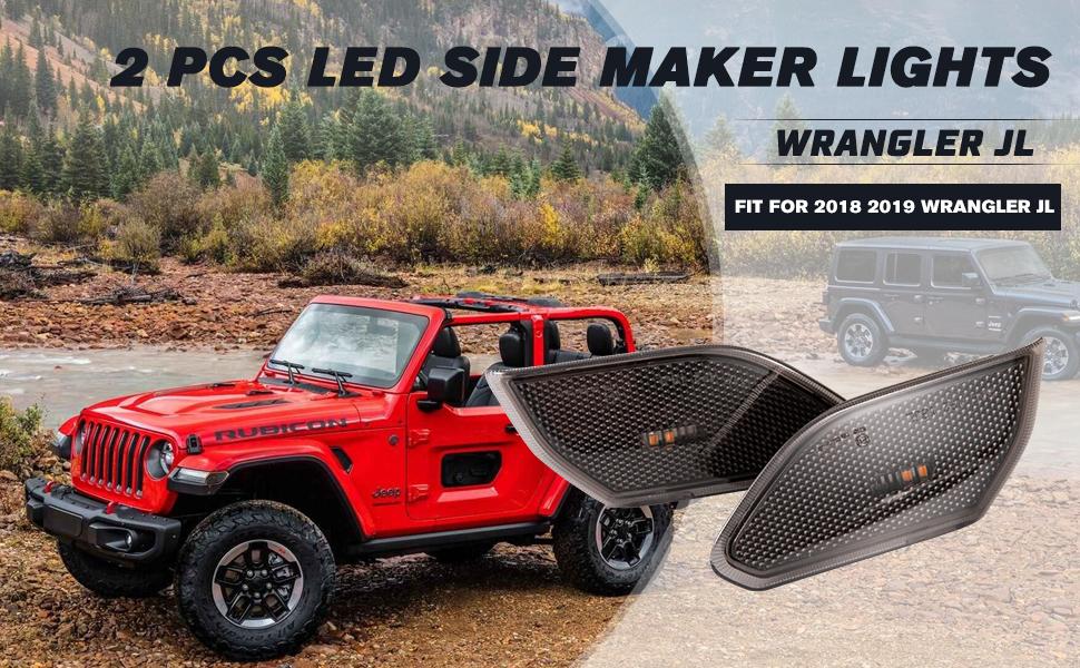 LED Side Maker Lights Jeep Wrangler JL 2018 2019 Fender Flares Lamps