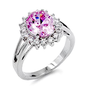 Lavencious Oval Shaped w.CZ  Party Rings in Pink