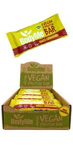 BodyMe Organic Vegan Protein Bars or Vegan Protein Bar or Vegan Protein Snack - Maca Cinnamon