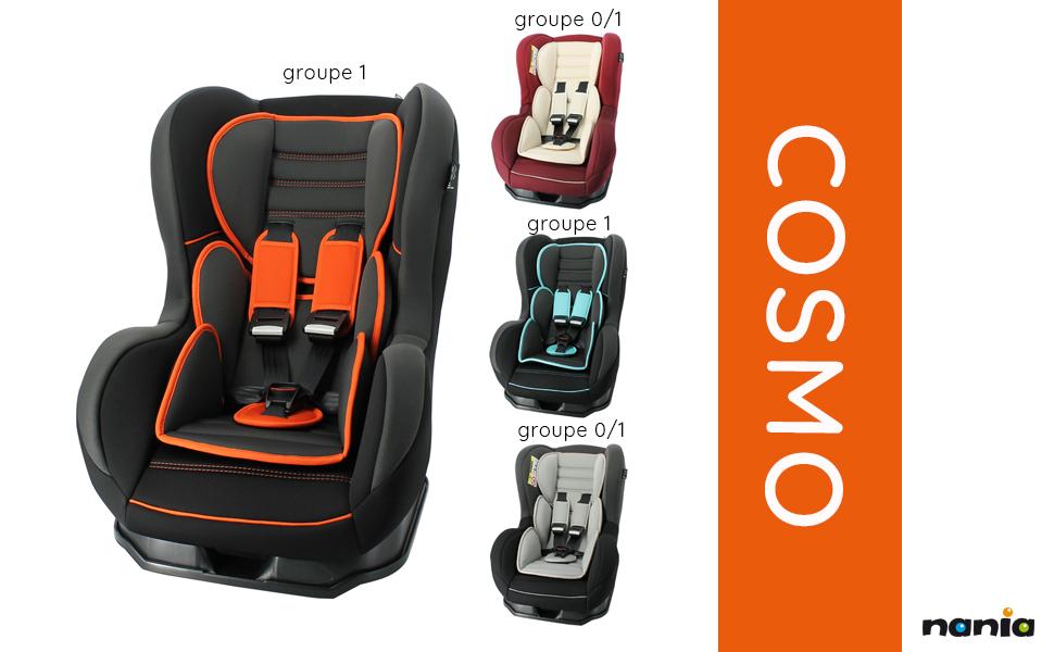 inclinable- housse confort Nania Si/ège auto enfant COSMO groupe 0//1 fabrication fran/çaise black r/éducteurs nouveau-n/é et protection lat/érale 0-18kg