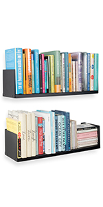 Wallniture Libro Floating Shelves U Shape Metal Wall Shelf Bookcase CDs DVDs Storage Black set of 2