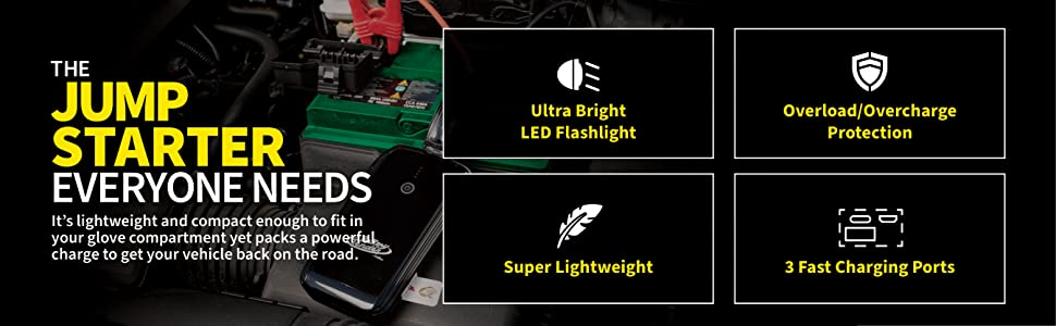 Ultrabright LED flashlight, overload/overcharge protection, super lightweight, 3 fast charging ports