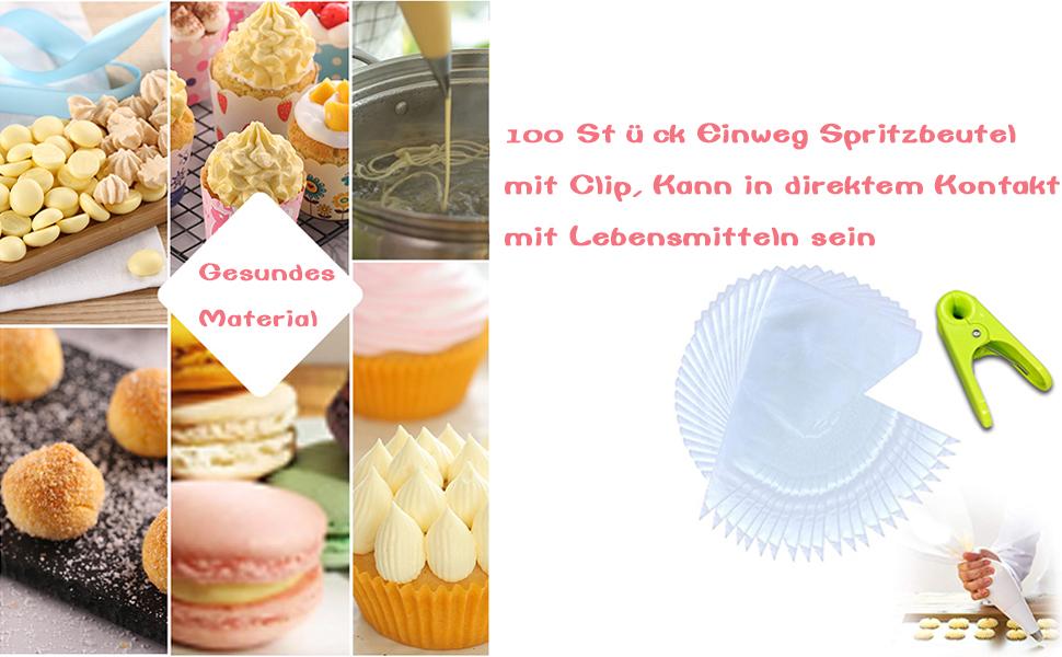 f/ür Kuchen//Backen//Kekse//Dessert//Cupcakes UBERMing 100 St/ück Spritzbeutel Einweg Spritzbeutel Transparent Torten Dekorieren Beutel Spritzbeutel aus Kunststoff Spritzbeutel mit 10 Silikonring