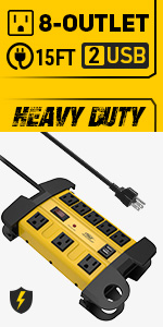 8-Outlet Heavy duty power strip surge protector with usb long cord