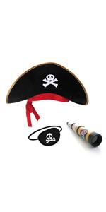 Sombrero pirata parche ojo telescopio