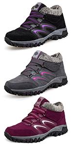 Non-Slip Comfort Skiing Walking Lace Up Ankle Botties, Outdoor Durable Rain