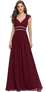 v neck a line evening dress formal gown