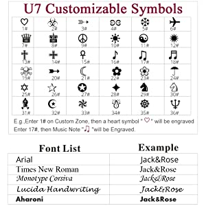 Font style and Symbol options