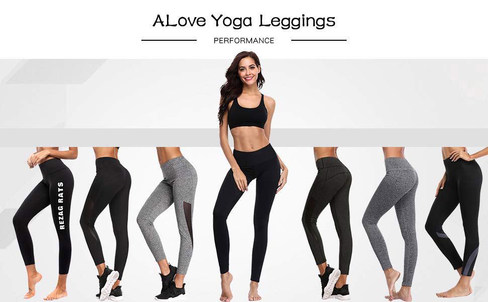 ALove Women Yoga Leggings Tummy Control Workout Active Fitness Pants