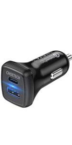 CHOETECH 36W 2-Port USB C Fast Car Charger