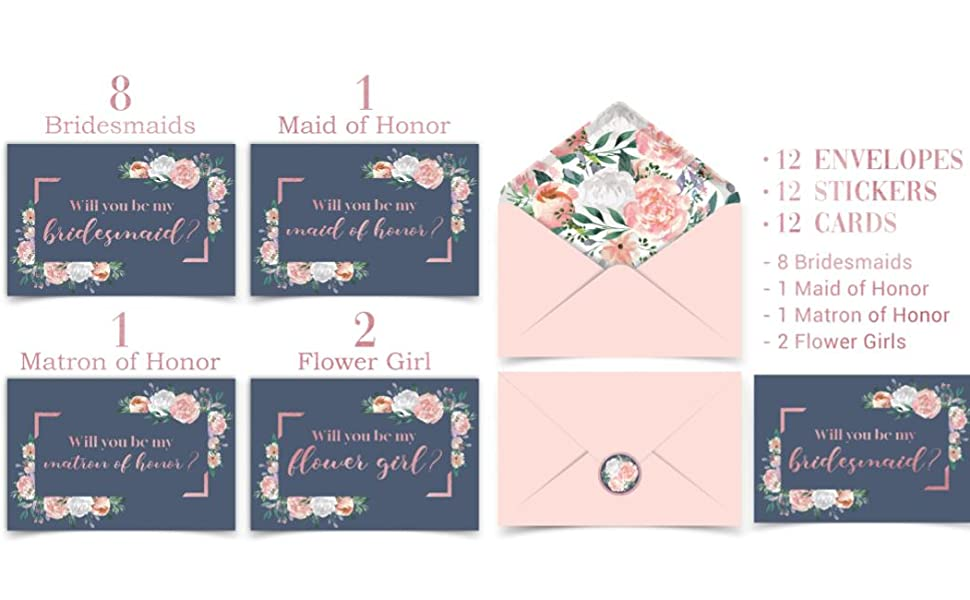 will you be my bridesmaid flower girl maid of honour proposal card ideas envelop