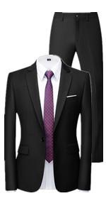 MOGU Mens 2 Piece Suit Slim Fit Notch Lapel Tuxedo for Daily Business and Prom (Blazer + Pants)