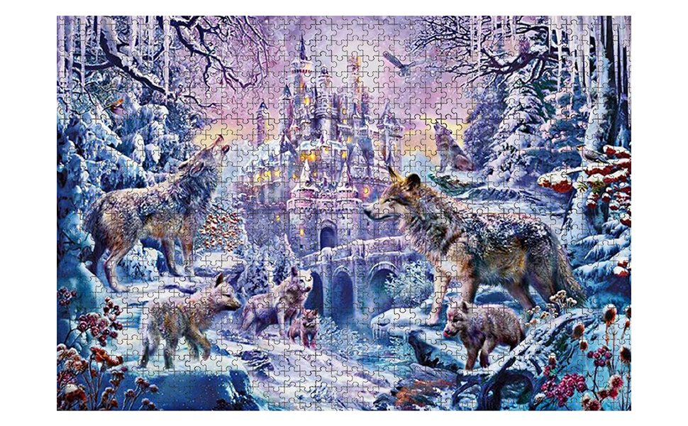 Wolf Castle Large Challenging Puzzle Game Suitable for Age 14+ Enhancing The Ability of Imagination and Practice 1000 Pieces Jigsaw Puzzle 27.56 x 19.69