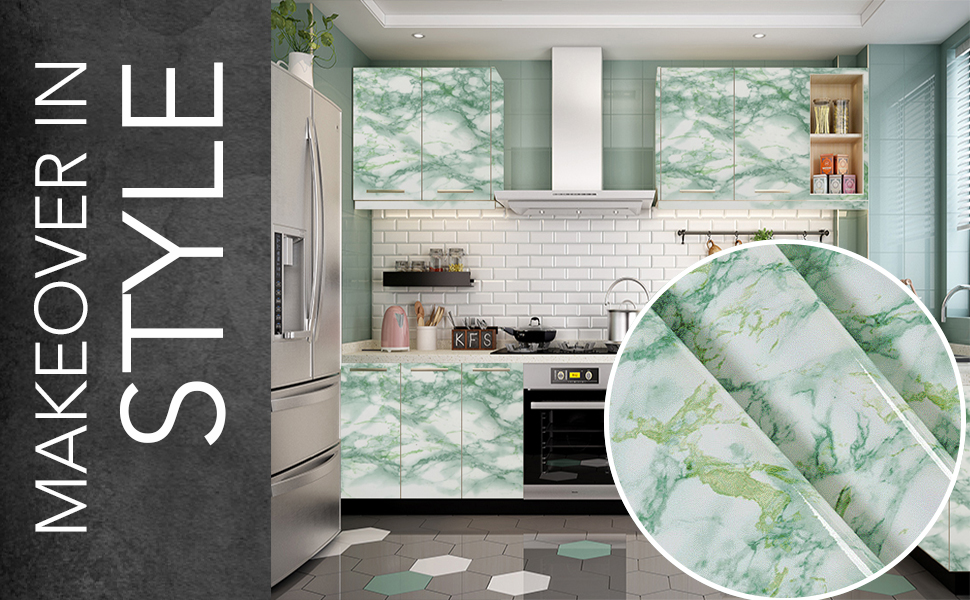 Wall Stickers Marble Wallpaper Furniture Kitchen, DIY, Self Adhesive, Cabinets, Almirah, Tabletop