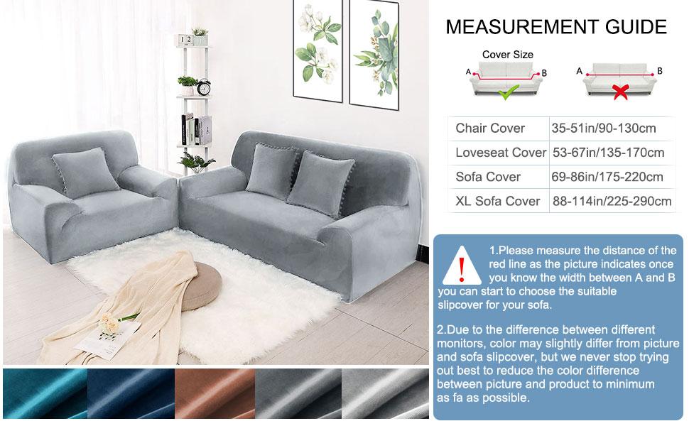 Luxus Sofabezug Samt Sofahusse Couchbezüge mit zwei Kissenbezügen Sofabezüge