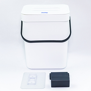 white small hanging trash can