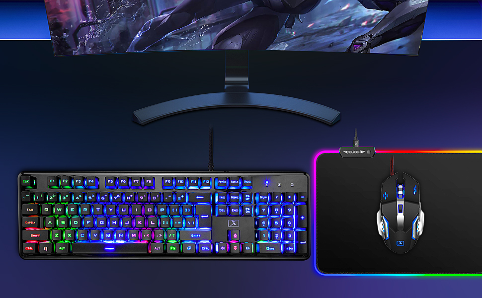 Wired Keyboard and Mouse Combo  Wired Keyboard and Mouse Mousepad Combo,Mechanical Feel Rainbow Backlit Gaming Keyboard Mouse,10 Color RGB Gaming Mice Pad 7 Color Mute Gaming La Souris for PC Laptop Mac 2868fef3 945a 4a8e 85a7 5d338e42b6c3