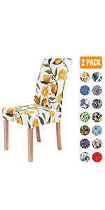 Lemon Printed Dining Chair Slicovers