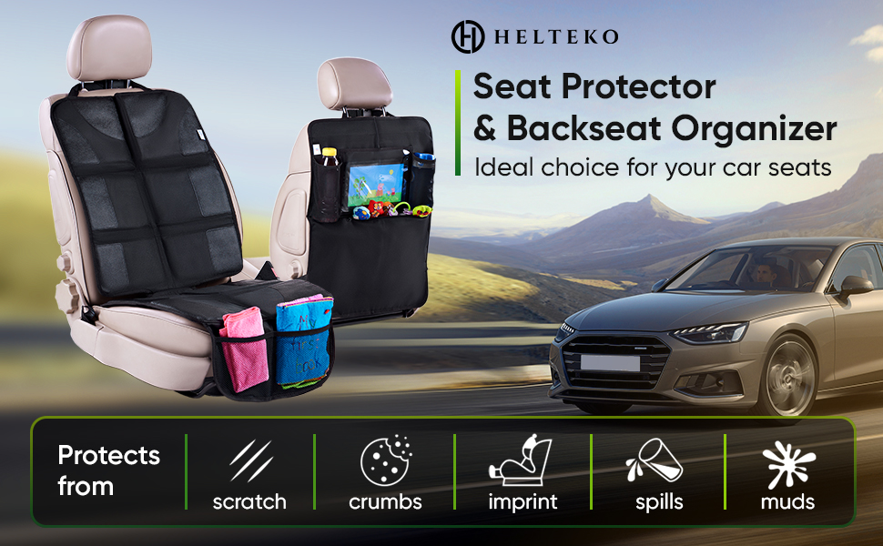 car seat protector backseat organizer rear pad back seat auto kickmat kick mat pockets black sear