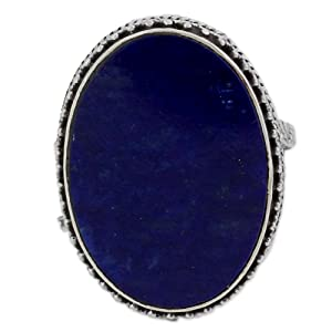 Lapis Lazuli .925 Sterling Silver Oval Cocktail Ring, jewelry, ornaments, blue ring, beautiful