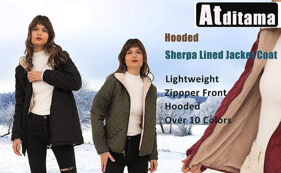 Sherpa lined jacket coat Faux fur Down Coats