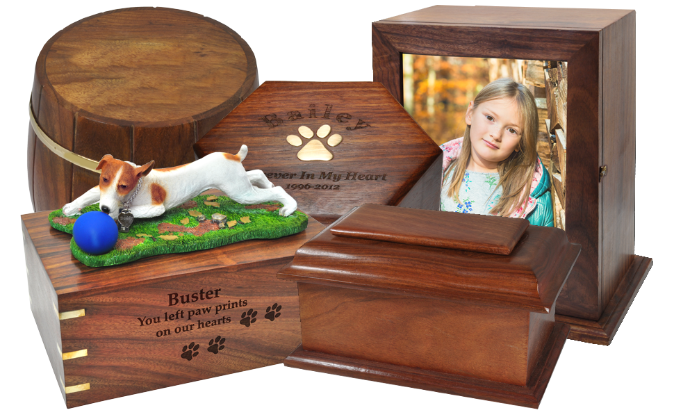 variety of indian rosewood urns with engraving photo dog breed figurine brass inlays