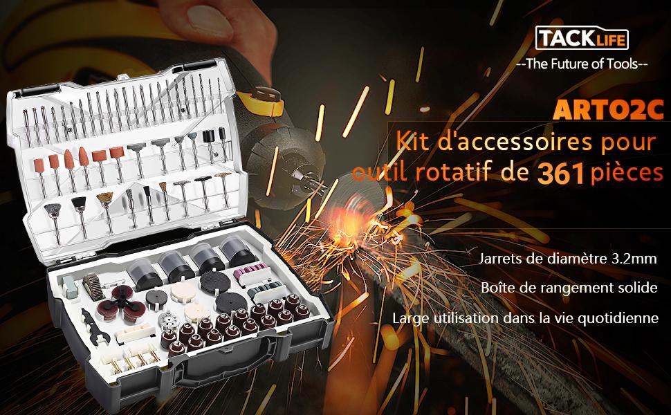 """3.2 mm Kit de 361 Pièces Diamètre 1//8/"""" TACKLIFE Accessoires doutil Rotatif"""