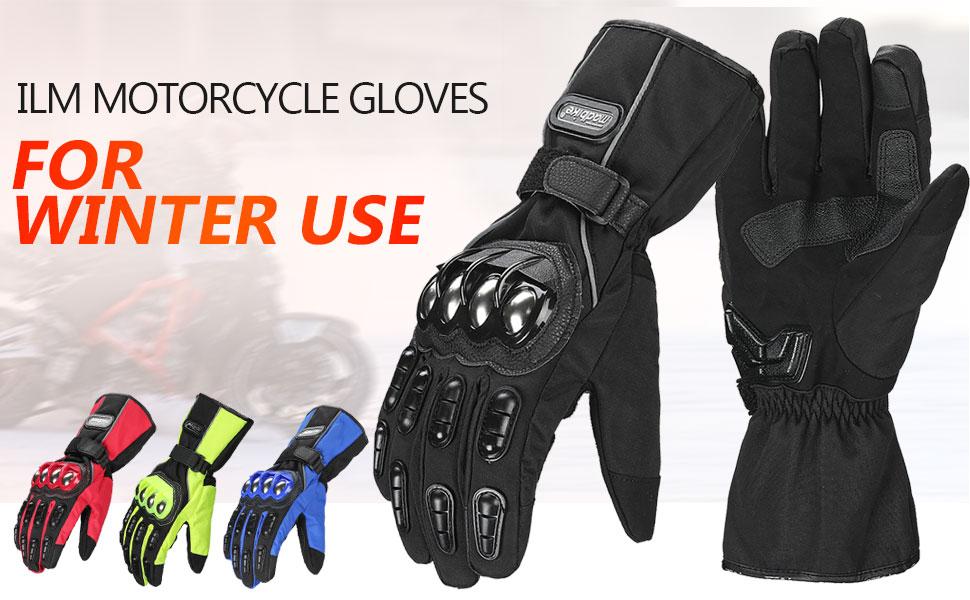 ILM Motorcycle Gloves Winter Windproof Hard Knuckle Protection for Men Women Motorbike Motocross XL, Black
