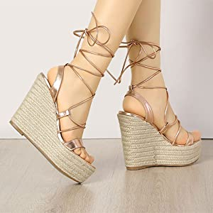 Allegra K Women's Espadrilles Platform Wedges Heel Lace Up Sandals
