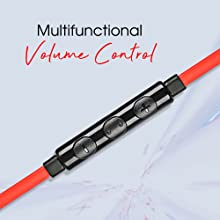 Macjack Wired Earphone Mic Volume Noise Cancellation Dynamic HD Sound Metal Magnetic Earbuds Red