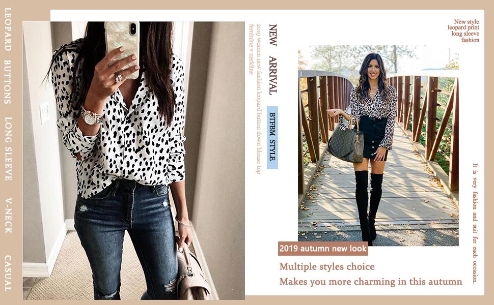 Womens button down leopard shirt