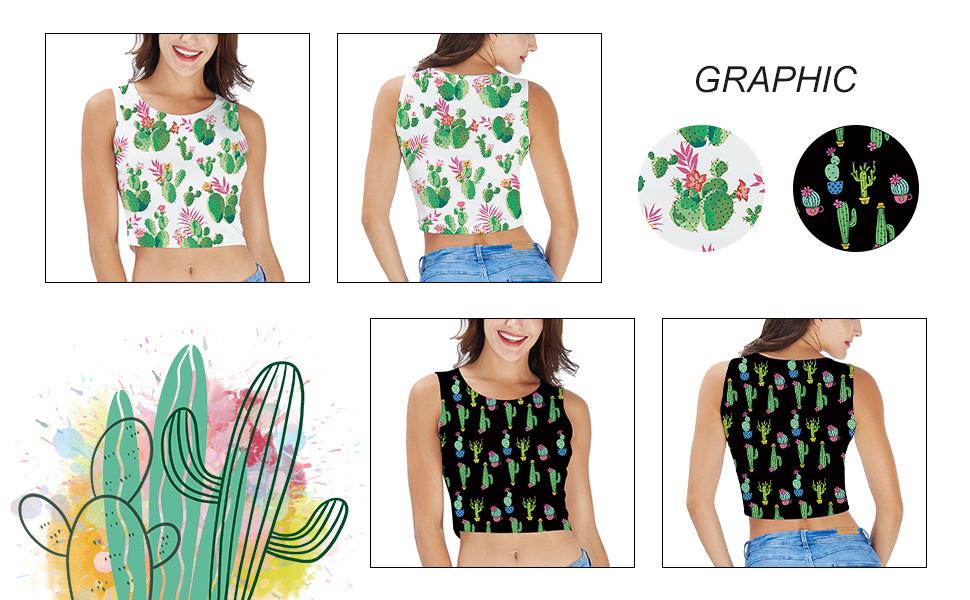 RAISEVERN Women Sleeveless Crop Top 3D Printed Camisole Cami Vest Tank Top Short T-Shirts