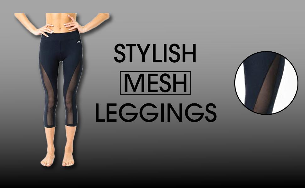 Leggings for Women - Capri Yoga Pants for Workout - High Waisted Mesh