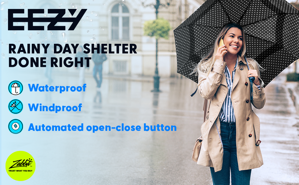 Rainy day shelter done right, waterproof, windproof, automated open-close button.Woman with umbrella