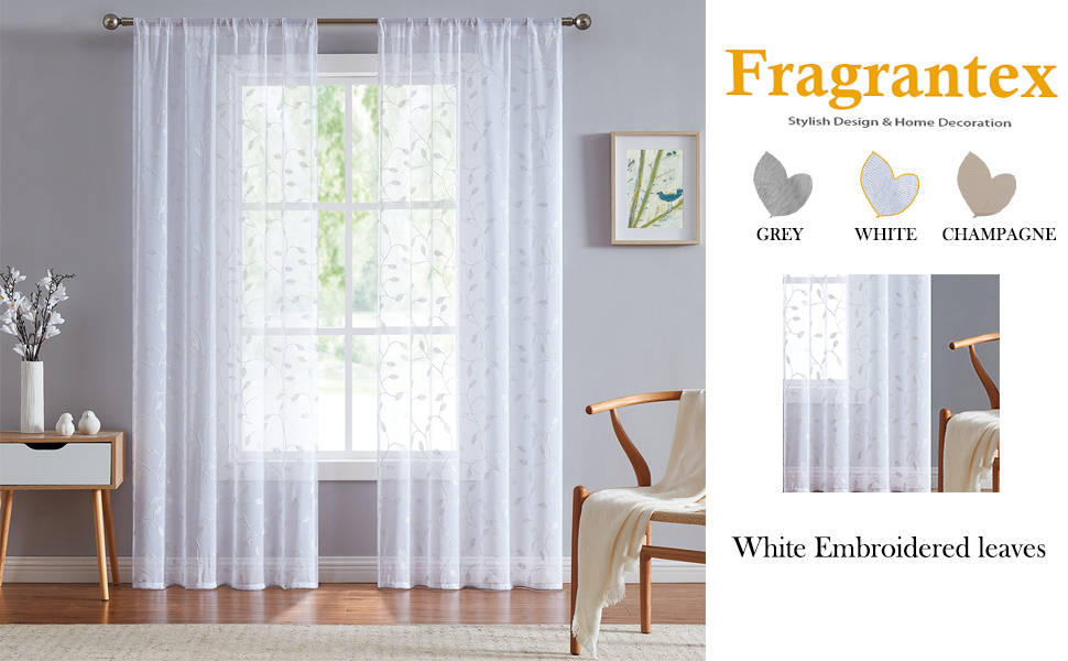 white sheer embroidered curtains 84 inch long