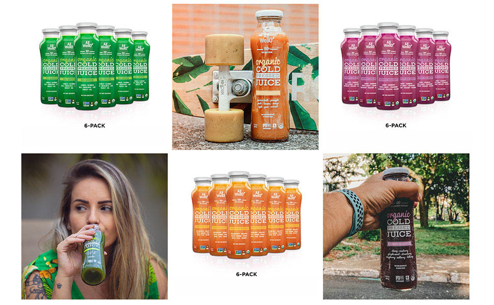 Picture displaying a six pack of each AllWello flavor tropical berry and green and park photos