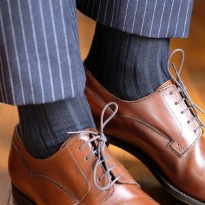 Navy Blue Ribbed Over the Calf Cotton Dress Socks for Men