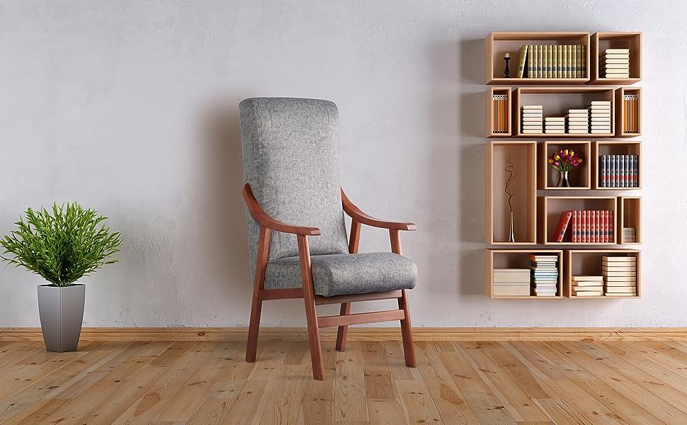 silla con brazos de madera personas mayores residencia geriatrico