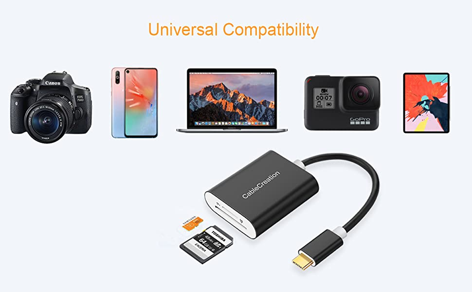 USB C to SD Micro SD Card Reader, CableCreation Type C [Thunderbolt 3] 2-in-1 Memory Card Aluminum Reader, Compatible with MacBook Pro 2019, iPad Pro ...