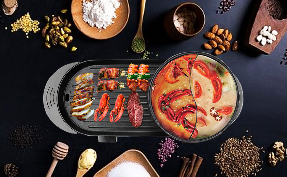 electric grill with hot pot,electric hot pot,electric hot pot with grill,electric indoor grill