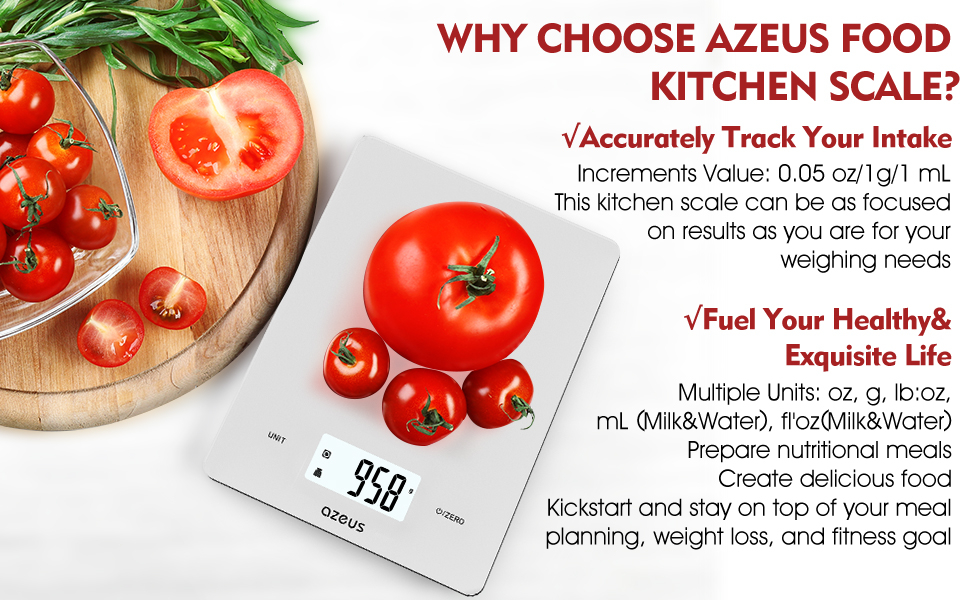 AZEUS Digital Kitchen Food Scale with USB Rechargeable and 6 Units - valuelink.shop